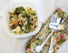 brown rice with roasted veggie salad. a great pack lunch recipe