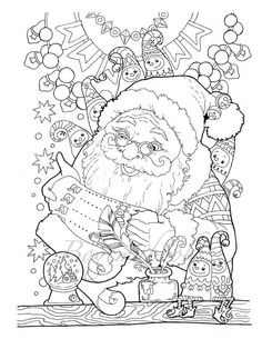 Nice Little Town Christmas Adult Coloring Book Printable PDF Digital Pages Stres