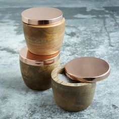 "Wood + Copper Salt Cellar, Copper Lid + Mango Wood, 2.75"" x3.5"""