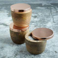 "Wood + Copper Salt Cellar, Copper Lid + Mango Wood, 2.75"" x3.5"""