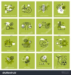 Set of thin line icons of environment renewable energy sustainable technology recycling ecology solutions. Premium quality icons for website mobile website and app design. App Design, Design Set, Sustainable Environment, Sustainability, Sustainable Energy, Nikola Tesla, Renewable Energy, Solar Energy, Solar Power