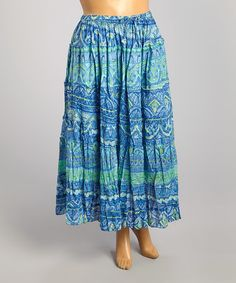 Look what I found on #zulily! Cobalt & Peri Batik Maxi Skirt - Plus #zulilyfinds