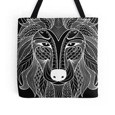 White Wolf Tote bag/ yoga bag Tattoo wolf beach bag/ Tattoo Wolf, Yoga Bag, White Wolf, Reusable Tote Bags, Bag, Arctic Wolf