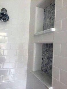 White subway tile in master shower Master Bathroom Reveal: dual shower cubbies Bathroom Renovation, Bathroom Inspiration, Small Bathroom Remodel, Shower Remodel, Shower Niche, Bathrooms Remodel, Bathroom Renos, Tile Bathroom, Master Shower