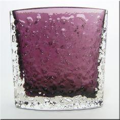 Whitefriars aubergine glass rectangular 'Nailhead' vase, from the 'Textured' range, designed by Geoffrey Baxter, pattern number 9685.