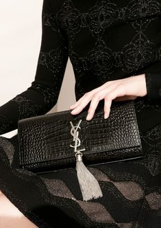 9e95541bf5f9 Large Kate chain bag in black crocodile embossed leather by Saint Laurent  Paris - Département Féminin