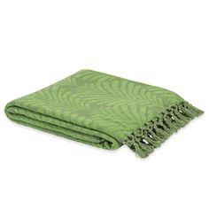 Jeté en coton vert 220 x 240 cm PALM