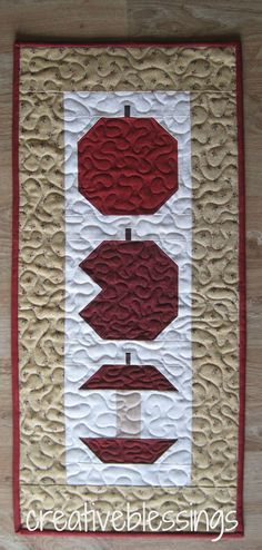 Quilted Apple Runner or Wall Hanging by creativeblessings on Etsy, $23.00