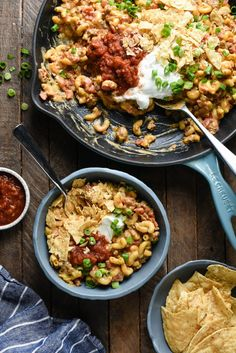 Large skillet of Mexican pasta dish, with serving in smaller bowl nearby. Mexican Mac And Cheese, Taco Mac And Cheese, Mexican Pasta, Good Macaroni And Cheese Recipe, Leftover Taco Meat, Game Day Food, Chili Recipes, Pasta Dishes, Good Food