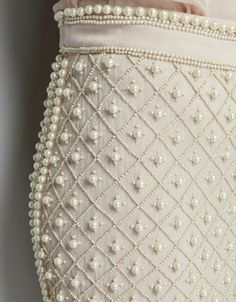 Pearl embroidery on skirt with little beads looks very interesting. Such embroidery can decorate both a wedding dress and an evening outfit Pearl Embroidery, Couture Embroidery, Embroidery Fashion, Embroidery Designs, Wedding Embroidery, Skirt Embroidery, Couture Embellishment, Tambour Embroidery, Couture Details
