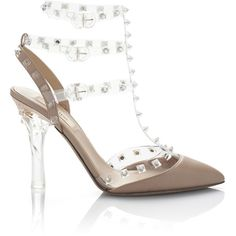 Valentino: Naked Rockstud Transparent Sling Back (£700) ❤ liked on Polyvore featuring shoes, sandals, valentino, poudre, pumps, strap sandals, valentino shoes, leather ankle strap sandals, leather strappy sandals and ankle wrap sandals