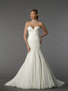 Sweetheart Mermaid Wedding Dress  with Dropped Waist in Chiffon. Bridal Gown Style Number:33041781