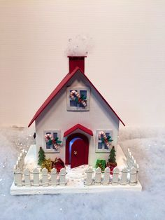 Items similar to Candy Cane Christmas Cottage with Votive light on Etsy Christmas Village Houses, Christmas Gingerbread House, Miniature Christmas, Christmas Villages, Christmas Home, Christmas Skirt, Putz Houses, Xmas, Christmas Tabletop