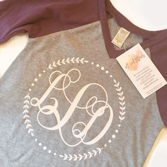 These monogram baseball raglans are the cutest! Really liking the maroon/gray!! www.allgoodthreads.com