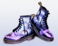 These boots were part of an exclusive series created for Dr Martens to promote and market their 1995 season of new products.  Only three sets were produced. One set for the UK, one set for Europe and one set for USA.