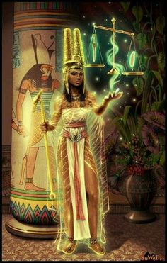 Ma'at was the goddess of the physical and moral law of Egypt, of order and truth. Egyptian Mythology, Egyptian Goddess, Egyptian Art, Isis Goddess, Black Goddess, Maat Goddess, African Mythology, Ancient Egypt Fashion, Ancient Egypt Art