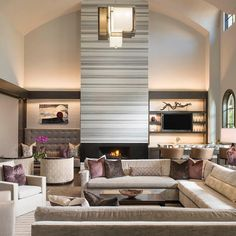 How Incredible Is This Fireplace? It Took 7 Whole Stone Slabs Of Maramar To Create This Amazing Focal Point!  Designer/ Tracy Rasor Design Associate/ Chelsea Hargrave Builder/ Desco Fine Homes Photo By/ @piassickphoto  #dallasdesigngroup