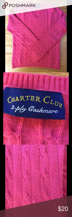 Charter Club 2 Ply Cashmere V Neck Sweater Charter Club 2 Ply V Neck Cashmere Sweater.  100% Cashmere.  Lovingly worn.  Some pilling (see photo 3 for an example).  Color is a little more orange than some photos suggest.  The final photo is taken on a cream background with something bright pink across the bottom to try to show real color.  Sorry no trades. Charter Club Sweaters V-Necks
