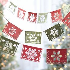Paper Flag Garland in Tree Toppers & Garland | Crate and Barrel