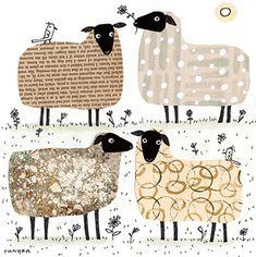 Visual Artist and Creative Encourager. Fuchs Illustration, Collage Illustration, Paper Collage Art, Newspaper Art, Sheep Art, Motifs Animal, Art Plastique, Elementary Art, Art Lessons