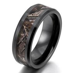 Men's 8mm Ceramic Ring Black Brown Hunting Camo Camouflage Comfort Fit Band Wedding Polished Unique Size12 INBLUE