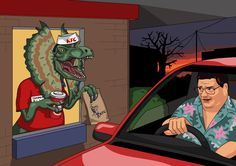 Dear Jim, Can you paint Dennis Nedry deciding to fuck Jurassic Park off and get some KFC instead. Unfortunately for him the KFC employee who serves him is an angry dilophosaurus. Microsoft, Dinosaur Art, Dinosaur Drawing, Dinosaur Birthday, Fanart, The Lost World, Jurassic Park World, Prehistoric Animals, Drawing Challenge