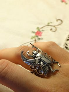 Egyptian Scarab Beetle Ring in Antiqued Silver