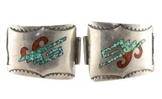 Navajo, Watch Band Plates, Shiprock, Mosaic, Sterling Silver, Coral, Turquoise, Vintage Jewelry