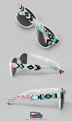 Sunglasses - Aztec print Tribal trend fashion sunglasses unique hand painted - pastel pink teal natural black. €37.00, via Etsy.