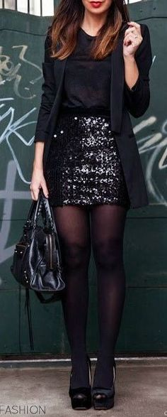 Black Shirt + Glitter Skirt