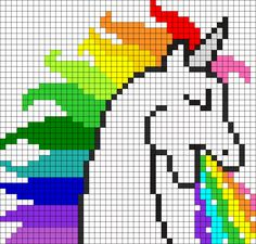 Rainbow Puking Unicorn Perler Bead Pattern / Bead Sprite/ pixel crochet pattern