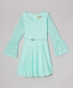 Look what I found on #zulily! Mint Crochet Belted Bell-Sleeve Dress #zulilyfinds