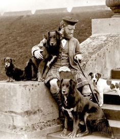 +~+~ Antique Photograph ~+~+ Informal portrait of John Brown with Queen Victoria's Dogs. Balmoral c. 1880