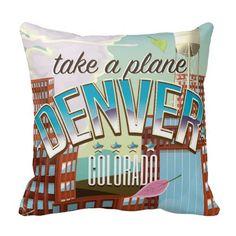 Denver Colorado Cartoon travel poster Pillow #denver