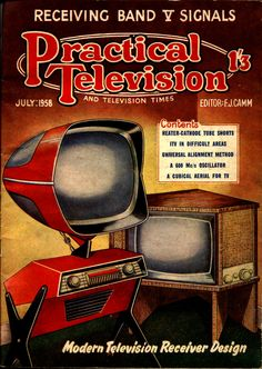 Predicta TV on cover of magazine - Atomic Age styling.