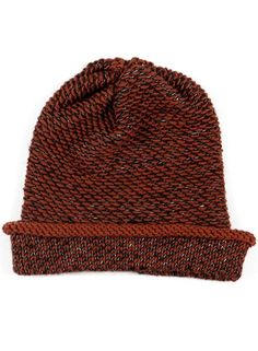 Seed Stitch wool hat in brown by Kordal. #handwoven