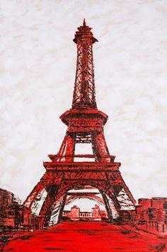 """Saatchi Online Artist Dell Camargo; Painting, """"Red Eiffel Tower """" #art"""