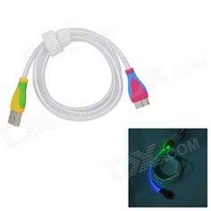 Color: Translucent White + Blue + Multi-Colored; Brand: N/A; Model: N/A; Material: ABS; Quantity: 1 Piece; Compatible Models: Samsung Galaxy Note 3 N9000; Cable Length: 100 cm; Connector: Micro USB 9-Pin; Other Features: Charging + data transmission; Packing List: 1 x Cable (100cm); http://j.mp/1vnSa1r