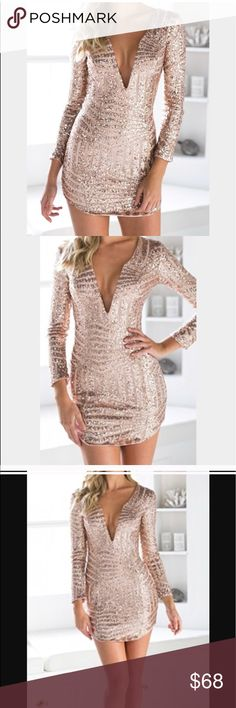 "Stunning Rose Gold dress Indie XO rose gold mini dress. This dress is absolutely amazing. Unfortunately it is too short for me as I am 5'8"". I was needing like 2 more inches. This would be perfect on someone 5'6"" or shorter. I was so sad that it didn't work because I am obsessed with it. indieXO Dresses Mini"