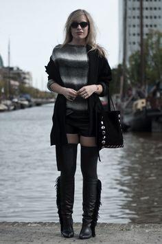 OTK socks fringe fringe boots skirt outfit.