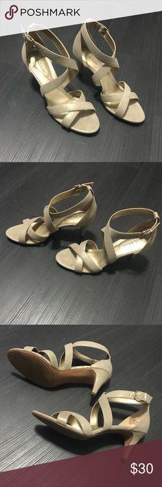 Kelly&Katie Low Heel Sandals Champagne strappy Kelly & Katie low heel worn once Kate & Katie Shoes Heels