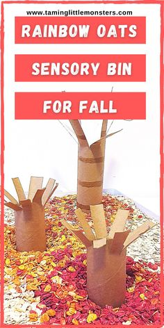 Learn how to make rainbow oats and turn them into this fall trees sensory bin for kids. Rainbow oats look just like autumn leaves when colored red, orange and yellow. Toddlers and preschoolers will love playing with this magical forest.  #sensory #fall #autumn #toddler #preschool
