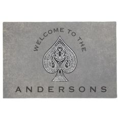 #personalize - #Retro Artistic Poker Ace Custom Welcome Doormat