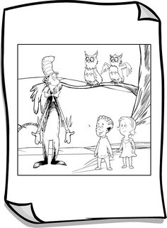 Owls at Night Coloring Page