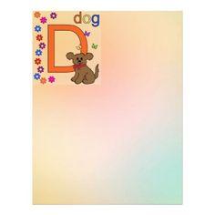 Dog Letter D Letterhead #Alphabet #Dog #Kids #Stationery