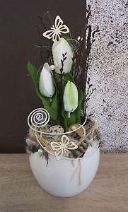 Tischdekoration-Tischgesteck-Gesteck-Fruehling-Ostern-Tulpen