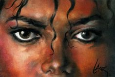 Art with Soul - a portrait of Michael Jackson with thriller eyes by Lacey