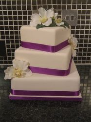3 Tier Square Wedding Cake - Ivory and Purple with Artificial Moth Orchids