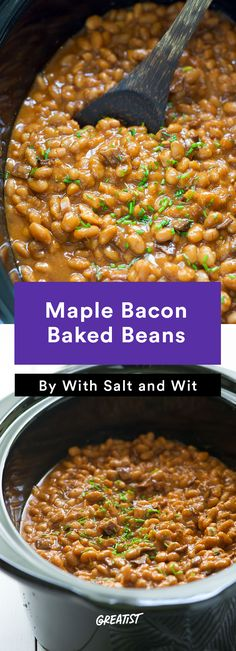 Maple Bacon Baked Beans #healthy #bbq #recipes http://greatist.com ...