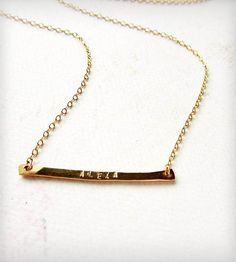 Custom Tiny Name Necklace, Gold | A new twist on a custom stamped name necklace! One hand-forged... | Necklaces